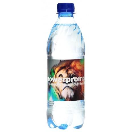 Vesipullo omalla logolla (lähdevesi)