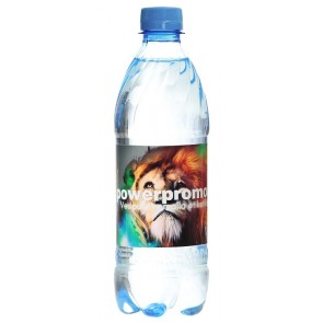 Vesipullo omalla logolla (hiilihapotettu)